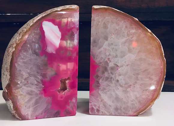 Pink Agate Book Ends