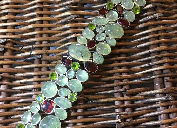 Prehnite, Peridot & Garnet Bracelet