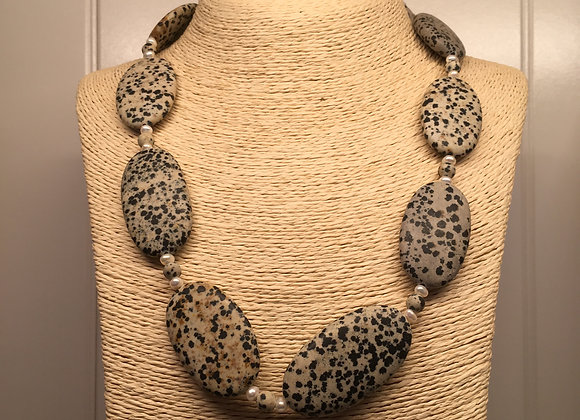 Dalmation Stone and Fresh Water Pearl Necklace