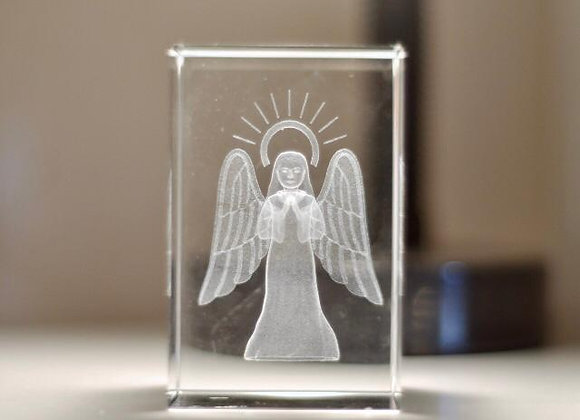 Glass Block with Angel