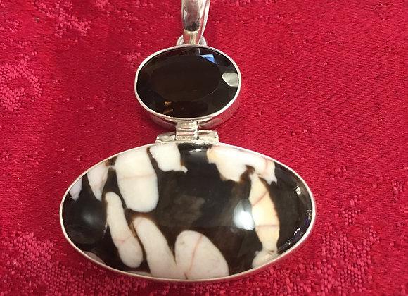 Peanut Stone Jasper & Smokey Quartz Pendant