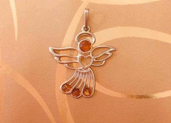 Amber Silver Angel Pendant