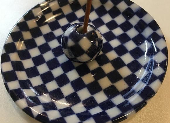 Incense Holder Blue & White Chequer