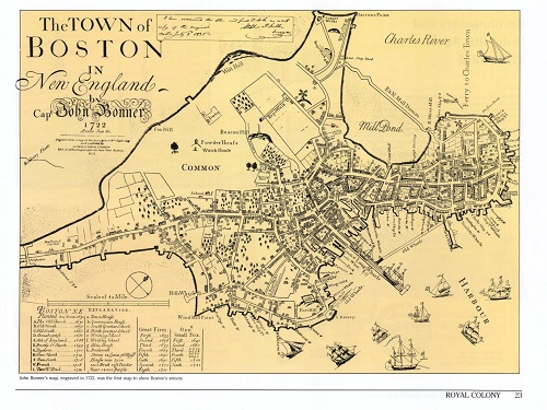 Historic map of Boston