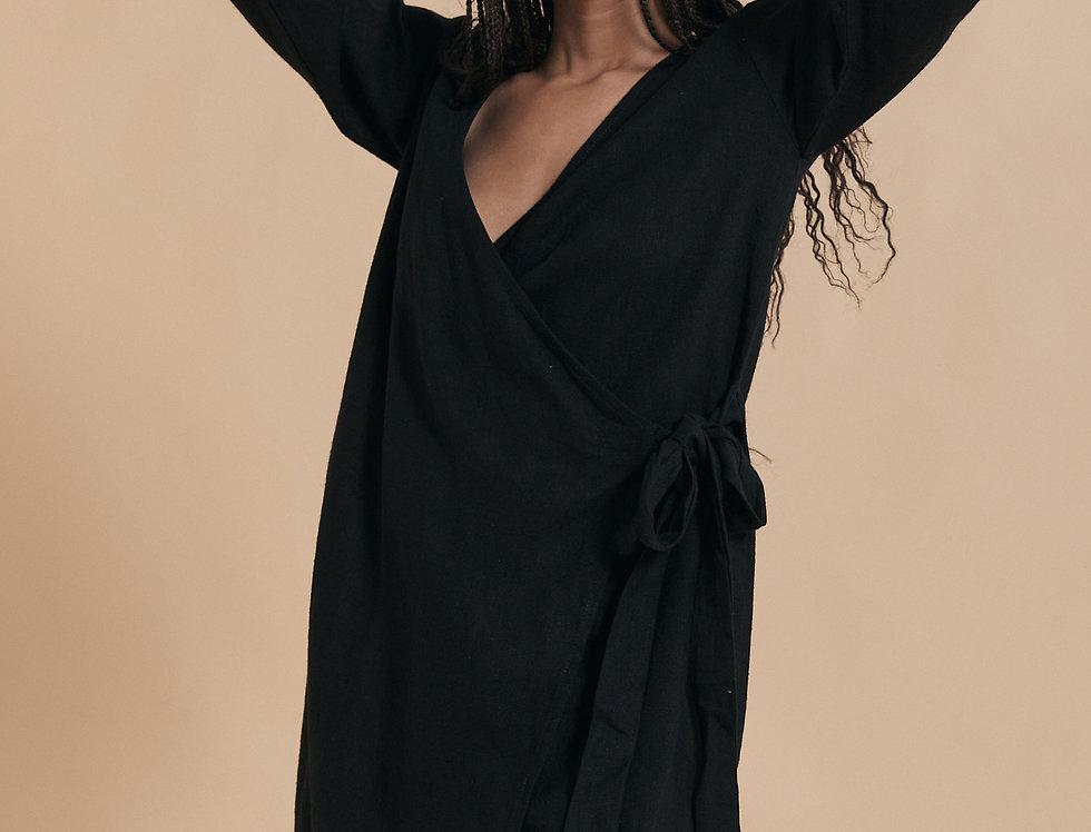 Quinn Wrap Dress - Noir