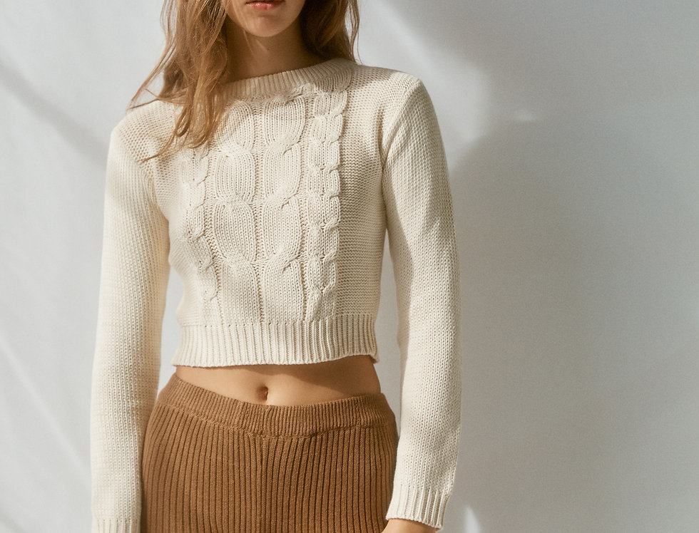 Arlo Cropped Knit - Cream