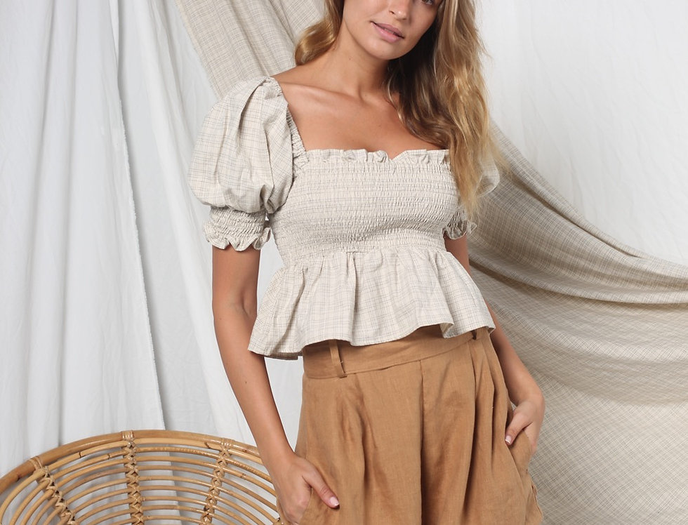 Leo Shorts - Taupe Linen