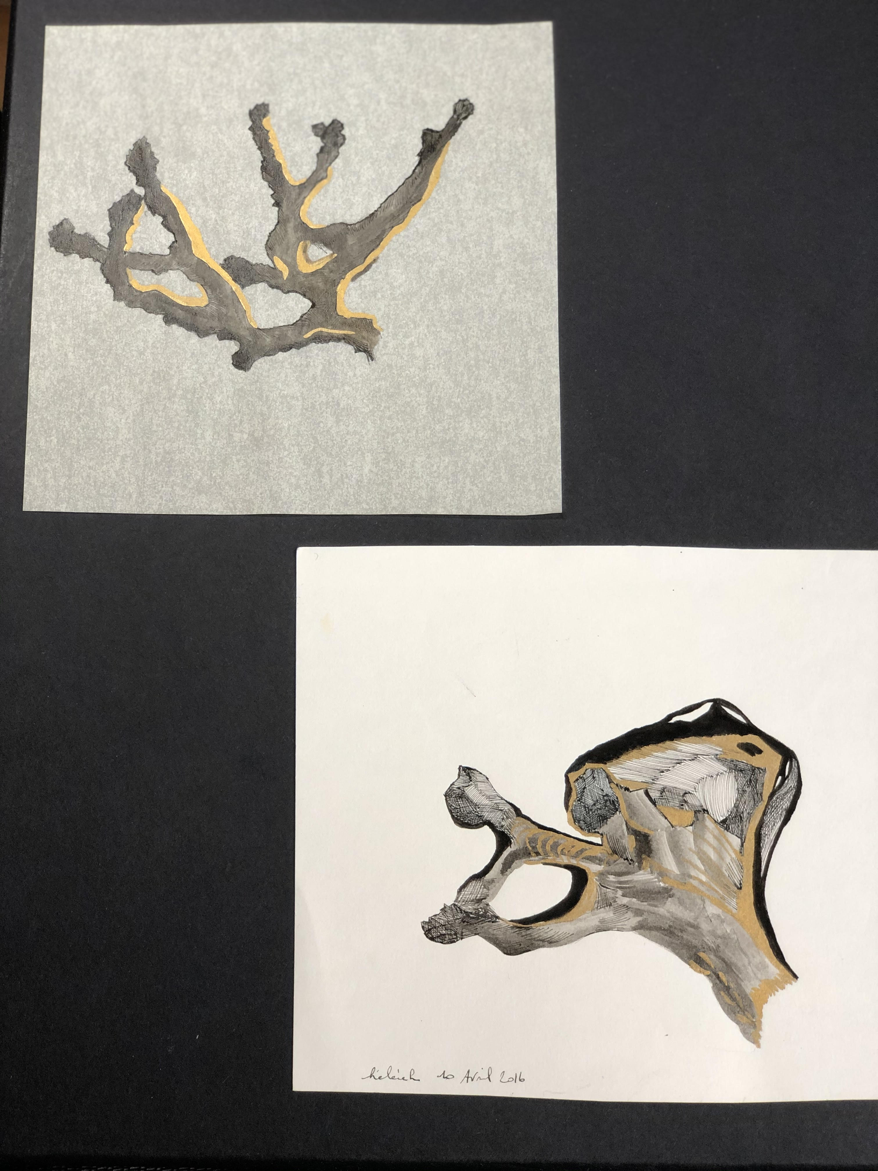 A5 encre noire et dorée papier blanc