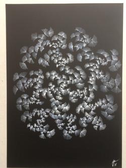 A4 encre blanche papier noirfleur papier noir