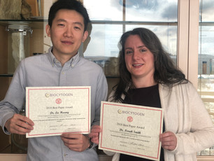 Congrats to Norah for winning the Biocytogen Best Paper of the year in our department and also to our friend Lu from the Russel lab for runner-up!