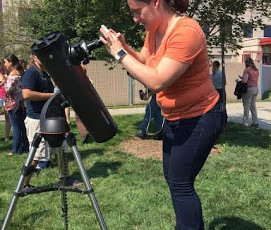 Norah and Cybelle looked through a different kind of 'scope today for the eclipse!