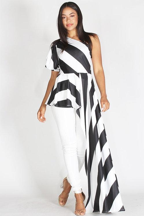 Black and White Stripe Peplum Top