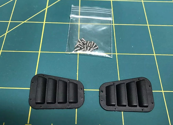 Pair Of 3D Printed 1/10 Scale Black ABS Plastic Louvered Hood Vent