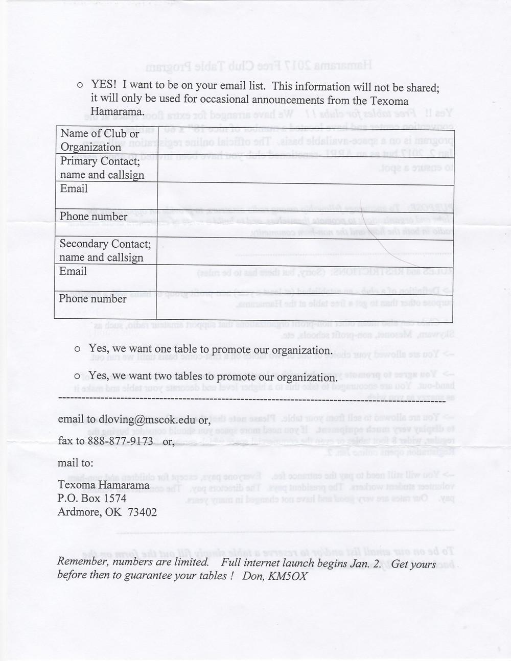 Hamarama 2017 Free Club Table Program Page 2