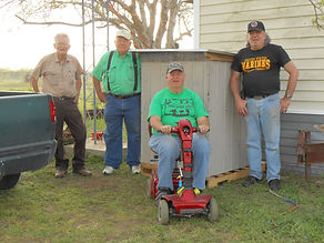 Some club members in front of the repeater shack