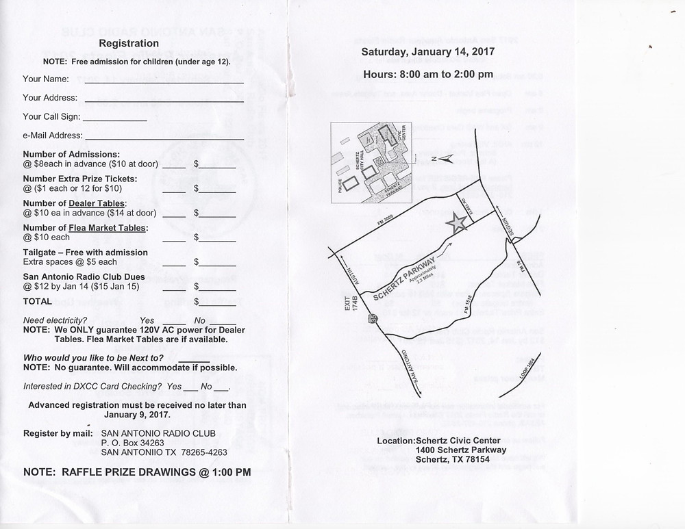 Registration Form and Map for San Antonio Amateur Radio Fiesta