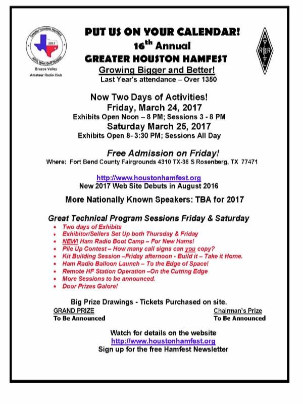 Image of Greater Houston Hamfest 2017 flyer