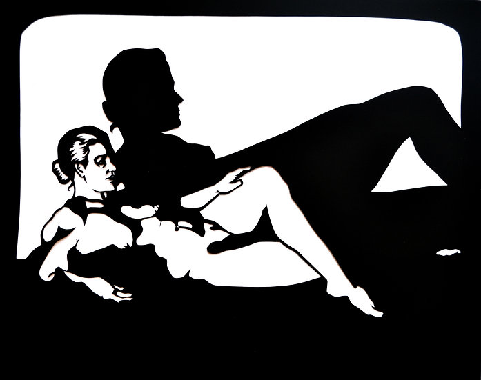 Reclining Under the Shadow - Cut Paper Original