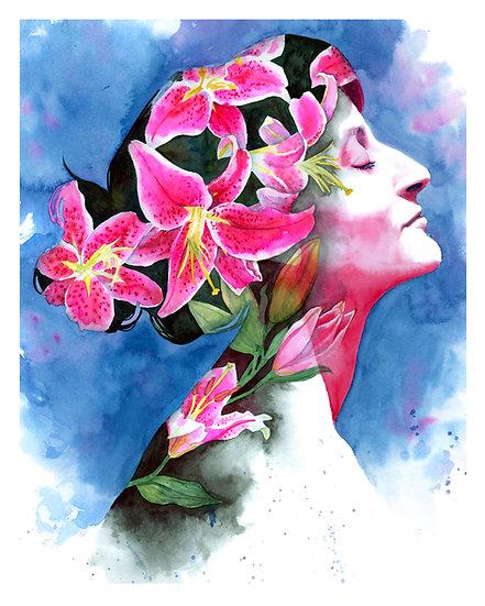 Blooming Stargazer Lilies print