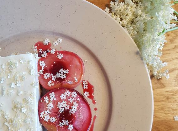 Sheeps milk cheesecake, peaches and elderflower