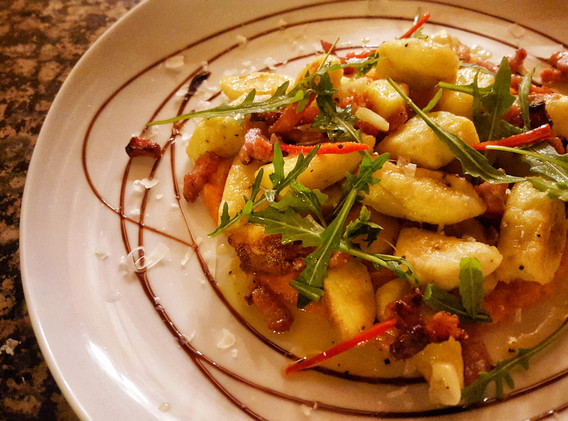 Home made gnocchi with squash & chilli
