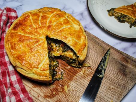 Rainbow chard pie.