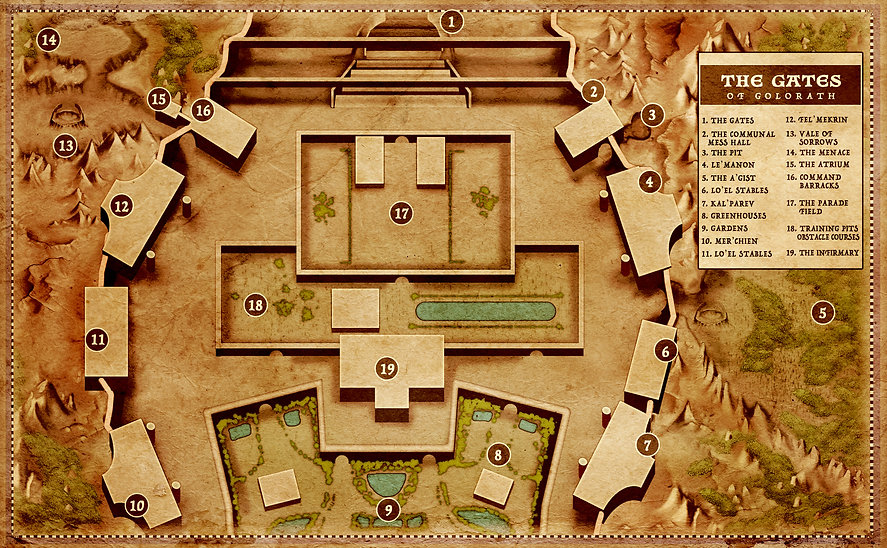 Fantasy Map of The Gates Complex from The Chaosof Souls Series by R.M. Garino