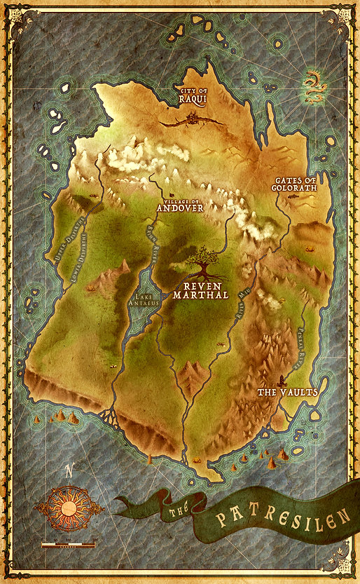 Fantasy Map of The Patresilen from The Chaos of Souls Series by R.M. Garino