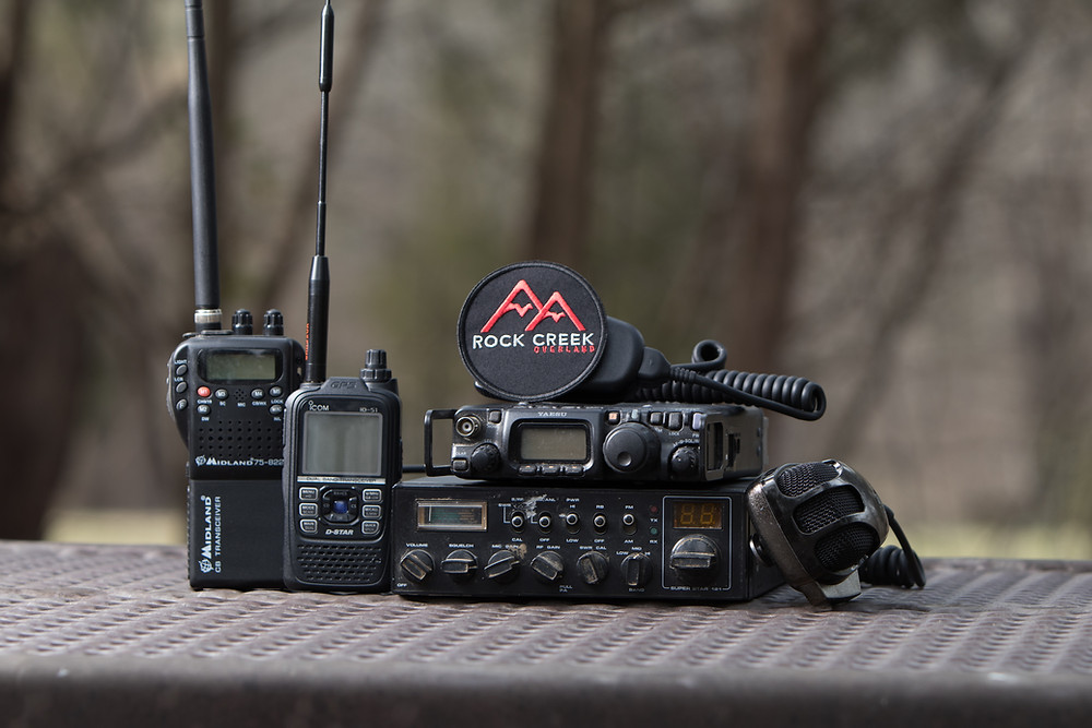 Radios in Pic: Left Midland CB,Left Center Icom ID-51A VHF/UHF, Top Right Yaesu FT-817 HF/VHF/UHF, Bottom Right CB