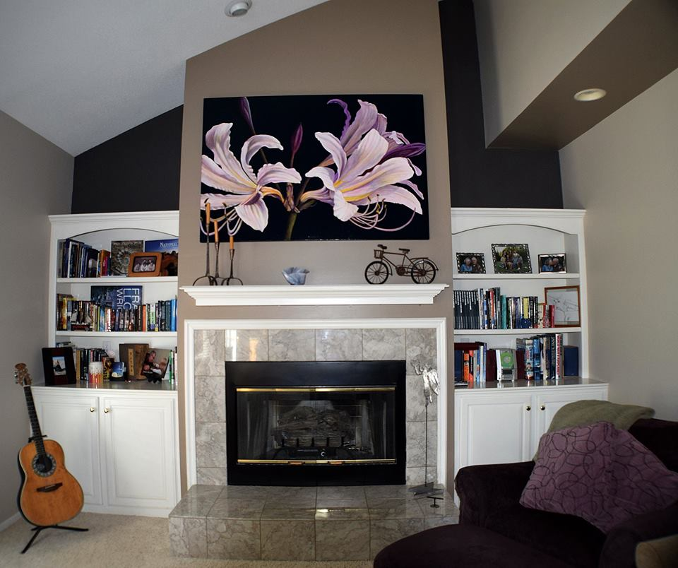 Fireplace and book shelves