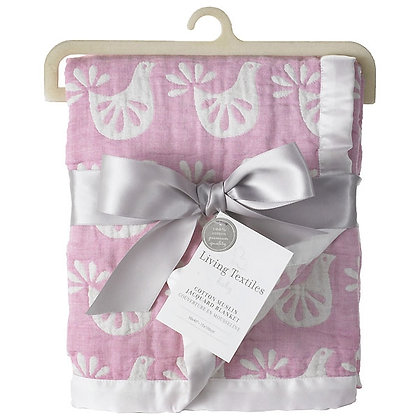 living textiles cotton muslin jaquard blanket
