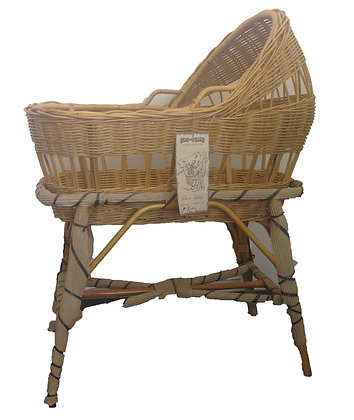 traditional natural cane half hooded bassinet