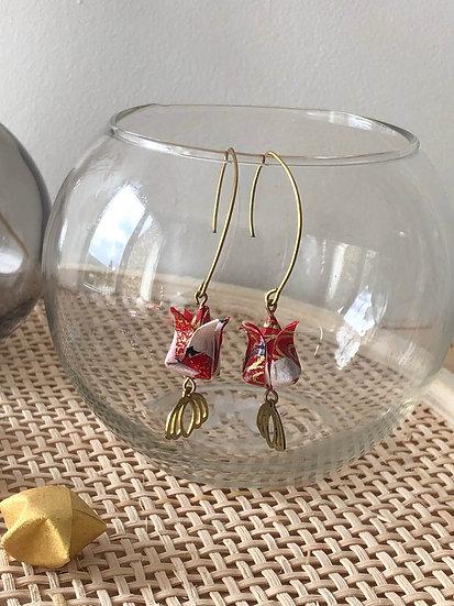 Boucles d'oreilles - Origami- Fleurs Lotus 047