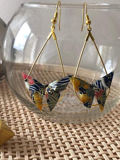 Boucles d'oreilles - Origami- Papillons 049