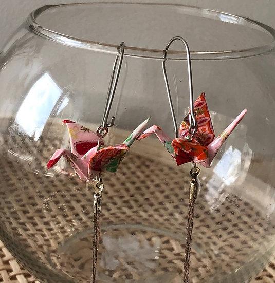 Boucles d'oreilles - Origami- Grues 039