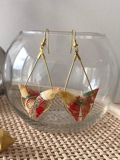 Boucles d'oreilles - Origami- Papillons 048
