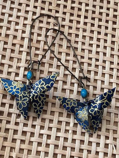 Boucles d'oreilles - Origami - Papillons 007