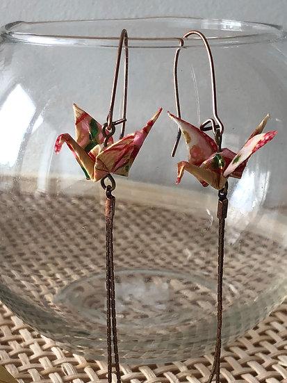 Boucles d'oreilles - Origami- Grues 037