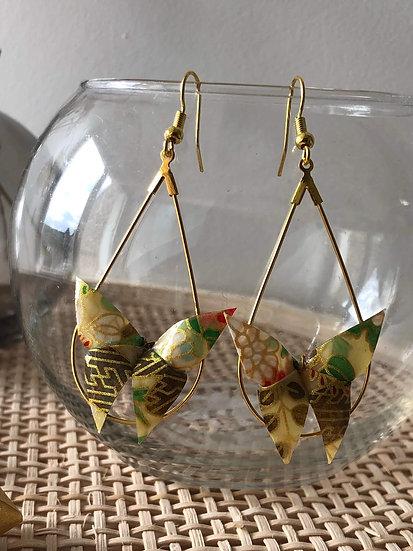 Boucles d'oreilles - Origami- Papillons 050