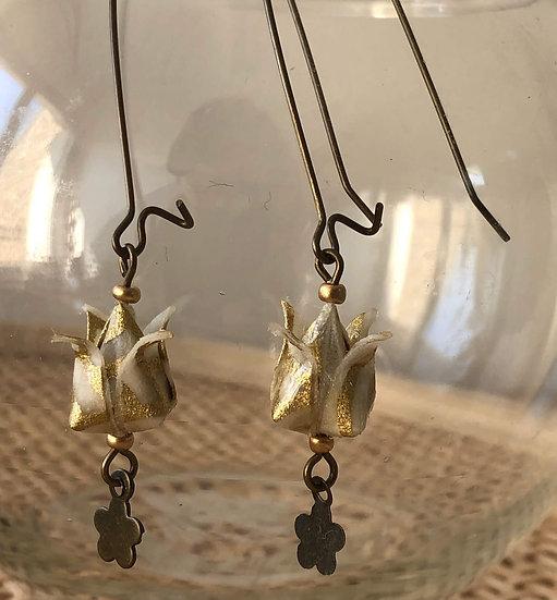Boucles d'oreilles - Origami- Fleurs Lotus 033