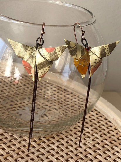 Boucles d'oreilles - Origami - Papillons 012