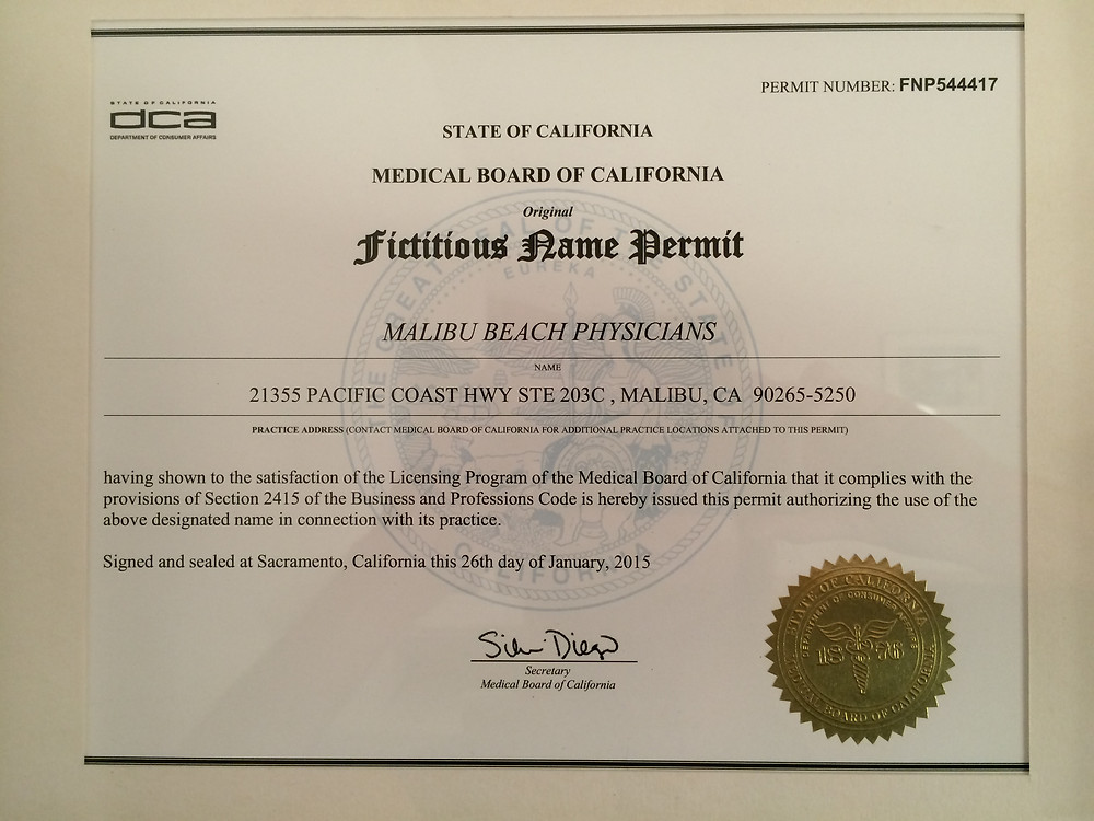 Malibu Beach Physicians FNP from Medical Board of California
