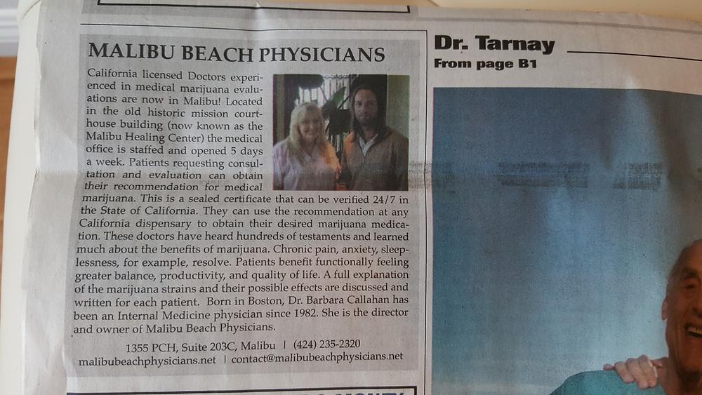 Medical Marijuana Evaluations in Malibu, CA 90265