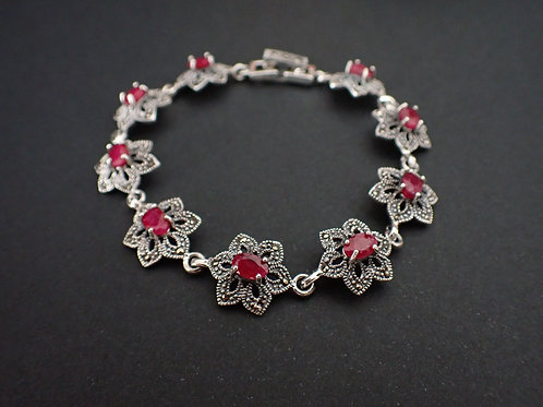 Ruby, marcasite and 925 silver bracelet