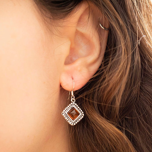 Amber and 925 Silver Earrings