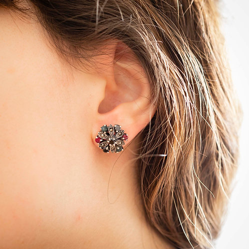 Ruby, Emerald, Onyx, Marcasite and 925 Silver Earrings