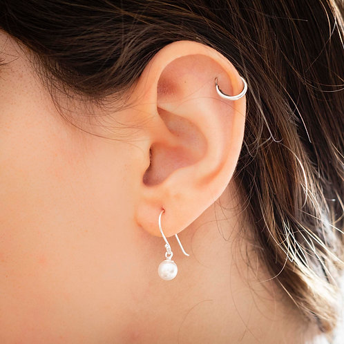 Pearl and 925 Silver Earrings