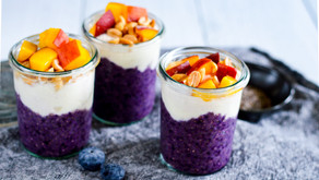 Chia seed pudding with Blueberries and Peach