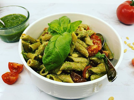 Whole Wheat Penne Pesto Salad
