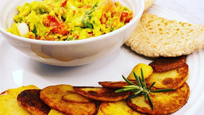 Chunky Guacamole and Cumin spiced Potato slices served with Whole Wheat Pita bread and Humus